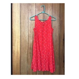 pink red GAP flower sun dress with pockets XS